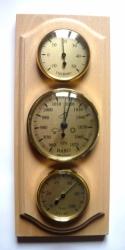 Barometr pokojový s teploměrem a vlhkoměrem - přírodní dřevo