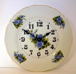 Nástěnné hodiny talířové modrá růže