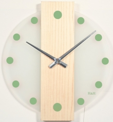 Nástěnné hodiny skleněné se dřevem