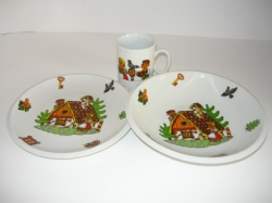Dětská třídílná jídelní porcelánová sada Perníková chaloupka